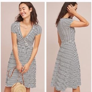 Maeve by Anthropologie Black White Striped Dress